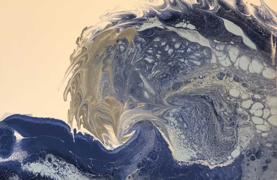 Acrylic Paint Pouring Wave Technique Example