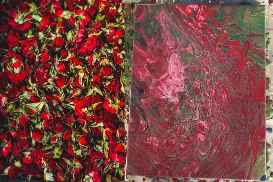 Acrylic Pouring Red Roses Inspiration Dirty Pour