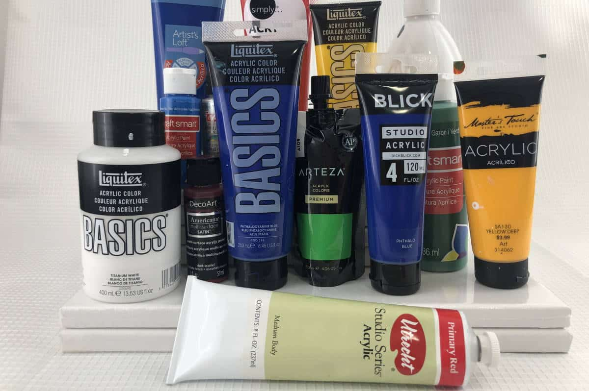 Various Acrylic Paints Used for Pouring
